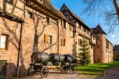 stock photo of guinness  - Cart with barrels at Riquewihr  - JPG