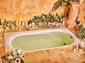 image of bubble-bath  - Bathroom interior with bubble bath - JPG