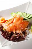 pic of cucumber slice  - Salmon Sashimi  - JPG