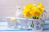 stock photo of daffodils  - Romantic postcard - JPG