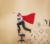 stock photo of superman  - Manager with coat of superman - JPG