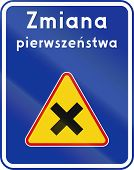 picture of priorities  - A Polish traffic sign  - JPG