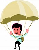 pic of parachute  - Golden parachute businessman vector illustration cartoon character - JPG