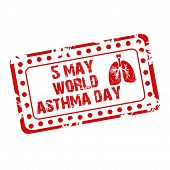stock photo of asthma  - illustration of a grungy stamp for World Asthma Day - JPG