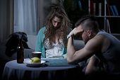 picture of sleepy  - Sleepy drunk housewife and her tired husband - JPG