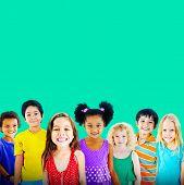 stock photo of innocent  - Diversity Children Friendship Innocence Smiling Concept - JPG