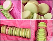picture of buffet  - Delicious sweet buffet with colorful macarons in a box - JPG