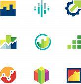 foto of productivity  - Economy finance chart bar business productivity logo icon set - JPG
