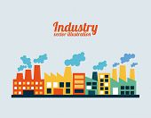 picture of polution  - industry design over blue background - JPG