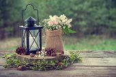 stock photo of marriage decoration  - Wedding still life in rustic style - JPG