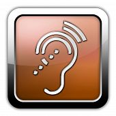 pic of hearing  - Icon Button Pictogram with Hearing Impairrment symbol - JPG