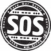 pic of sos  - Rubber Stamp With The Words Sos - JPG