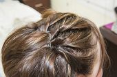 stock photo of scalping  - Closeup detail of a woman at hairdresser showing hair style - JPG