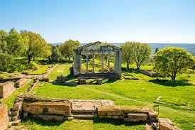 picture of albania  - Temple ruins in Ancient Apollonia in Albania - JPG