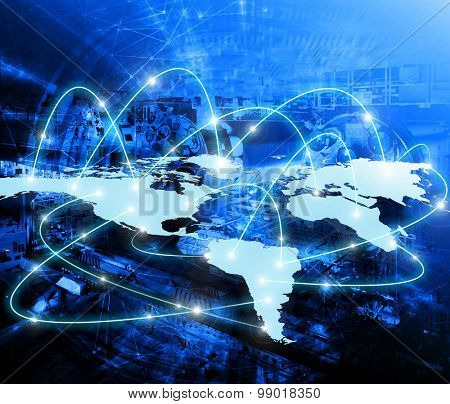 World map on a technological background bright lines and rays world map on a technological background bright lines and rays symbols of the internet gumiabroncs Gallery