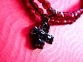 stock photo of collier  - red choker with cross pendant - JPG