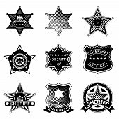 Постер, плакат: Set of vector sheriff or marshal badges and stars
