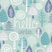 Hello winter leaves forest christmas tree garden illustration postcard cover design template typogra