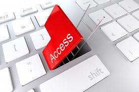 stock photo of underpass  - computer keyboard with red enter key hatch underpass ladder access - JPG
