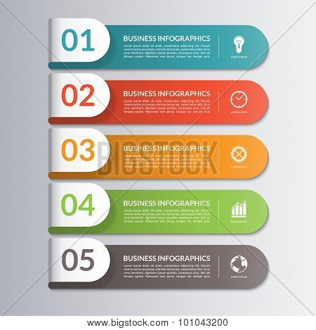 infographic design template 5 steps parts options stages poster