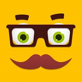 Vector Hipster Avatar with Geek Glasses And Mustache poster