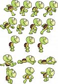 Постер, плакат: Cartoon turtle sprites ready for animation Vector clip art illustration with simple gradients Each