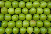 Maçãs verdes em linhas