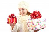 Happy Smiling Woman With Gifts