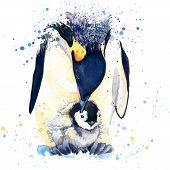 Постер, плакат: emperor penguin T shirt graphics emperor penguin illustration with splash watercolor textured backg