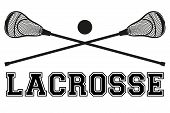 Lacrosse sticks and ball. Flat style poster