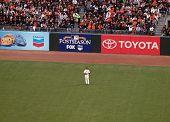 Giants Pat Burrell Stands In Left Field Between Plays