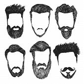 Vector set of hipster style haircut, beard, mustache poster