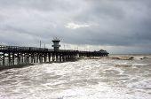 Pier during rain storm