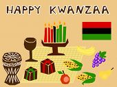 picture of unity candle  - traditional kwanzaa stuff drawn in simple manner - JPG