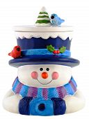 Snowman Smiling And Wearing Winter Clothing
