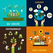 Постер, плакат: Environment ecology and save energy icons