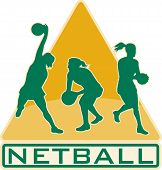 foto of netball  - illustration of a netball player catching jumping passing ball with shield or triangle in the background - JPG