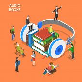 Постер, плакат: Audio Books Isometric Flat Vector Concept