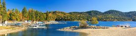 picture of arrowheads  - Lake Arrowhead with blu sky at autumn - JPG