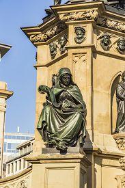 stock photo of frankfurt am main  - The Johannes Gutenberg monument on the southern Rossmarkt (1854 - 1858 by sculptor Eduard Schmidt von der Launitz). Johannes Gutenberg - inventor of book printing. Frankfurt am Main Germany. ** Note: Visible grain at 100%, best at smaller sizes - JPG