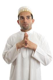 picture of muslim man  - Man wearing kurta robe and topi cultural clothing  - JPG