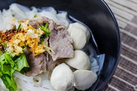 image of noodles  - Asian style beef noodles in soup Beef noodle with meatballs - JPG