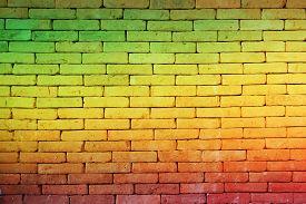 foto of reggae  - green red yellow brick Wall background  - JPG