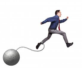 foto of ball chain  - man with ball and chain on white - JPG