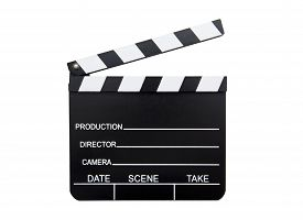 stock photo of clapper board  - Clapper board isolated on the white background - JPG