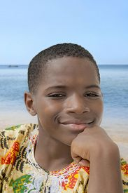 picture of ten years old  - Lovely boy smiling at the beach - JPG