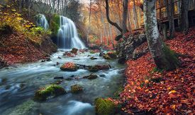 picture of crimea  - Beautiful waterfall in autumn forest in crimean mountains at sunset - JPG