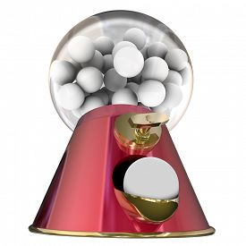 stock photo of gumball machine  - Gum balls or candy dispensed by a gumball machine offering a sugary snack that will cause tooth decay and make you gain weight - JPG