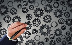picture of mechanical drawing  - Close up of hand drawing gears mechanism with marker - JPG