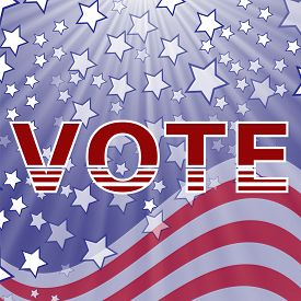 stock photo of election  - American Vote Text on Blue Starry Background - JPG